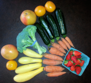 Grapefruit, oranges, summer squash, broccoli, carrots, strawberries.